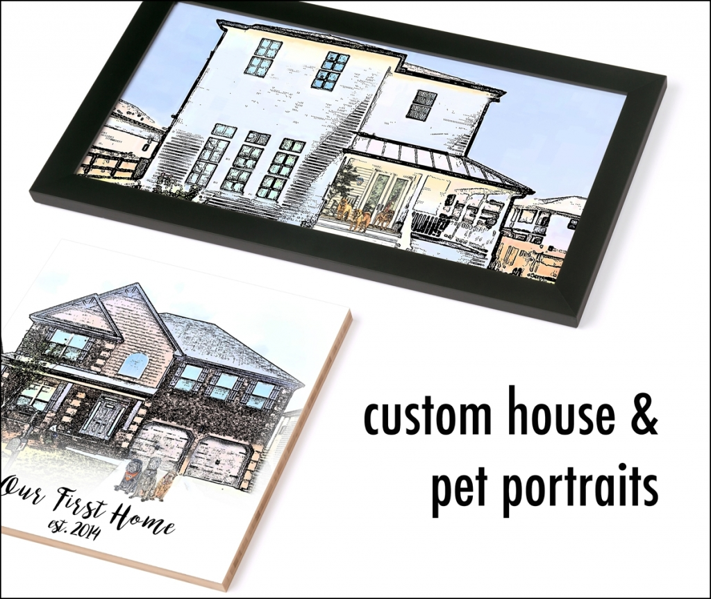 custom art house dog pet digital portrait 0015 1024x863 House + Pet Digital Portraits